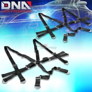 Pair Universal 6 point 2 Black Nylon Strap Harness Safety Camlock Seat Belt