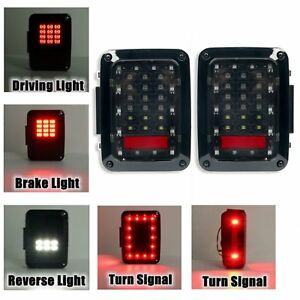 2 X Led Smoked Auto Led Tail Lights Lamps With Brake For Jeep Wrangler Jk 07 16