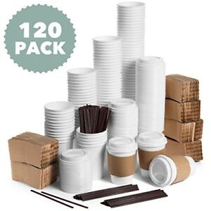 Jumbo Set Of 120 Paper Coffee Hot Cups With Travel Lids Sleeves And