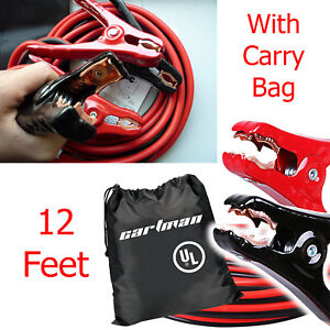 Car Auto Power Booster Cable 12ft Heavy Duty Emergency Jumper 8 Gauge Jump Start