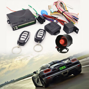 Car Central Door Lock Keyless Entry System Remote Control Kit 1 Way Alarm Siren