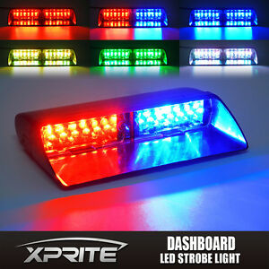 12 Led Windshield Emergency Warning Strobe Light Red Green Blue