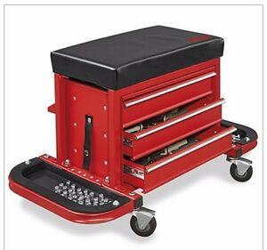 New Rolling Tool Box Chest With Padded Seat Red Free Shipping