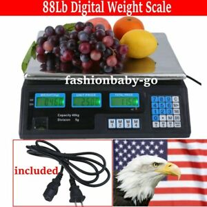40kg Digital Weight Scale Price Computing Deli Food Produce Electronic Counter
