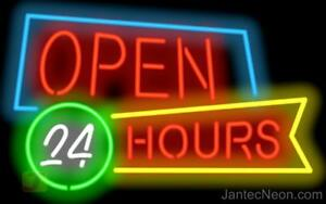 Open 24 Hours Neon Sign Diner Coffee Shop Gas Station Store Fast Food Jantec
