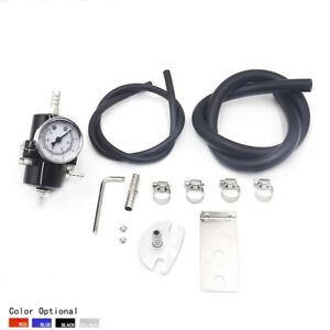 Universal Aluminum Adjustable 0 140psi Fuel Pressure Regulator Gauge Hose Black