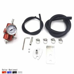 Universal Red Aluminum Adjustable 0 140psi Fuel Pressure Regulator Gauge Hose