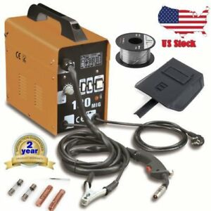 Mig 100 Welder Gas Less Flux Core Wire Automatic Feed Welding Machine W Mask Fg
