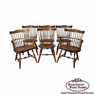 Ethan Allen Nutmeg Set Of 6 Solid Maple Windsor Style Dining Chairs