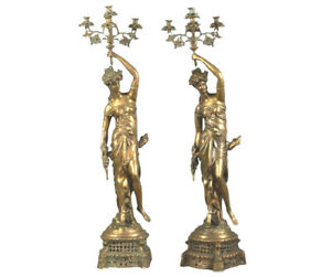 Pair Of Large Bronze Five Light Figural Candelabra