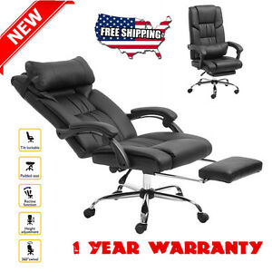Executive Reclining Office Chair High Back Leather Footrest Armchair Ergonomic