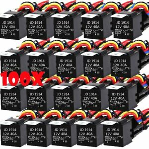 100pcs Dc 12v Car Spdt Automotive Relay 5 Pin 5 Wires W harness Socket 30 40 Amp