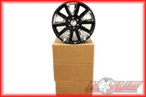 New 22 Chevy Tahoe Ltz Silverado Gmc Yukon Sierra Black Chrome Wheels 20 9925