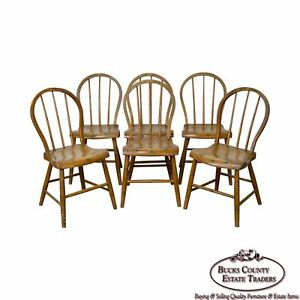 Antique Set Of 6 Early 19th Century Painted Childs Youth Size Windsor Chairs