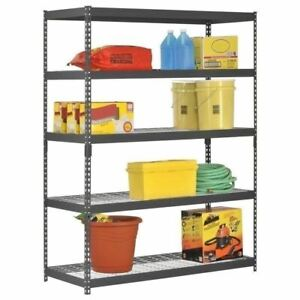 5 Shelf Metal Storage Rack Steel Shelving Adjustable Heavy Duty 60 X 24 X 78 In