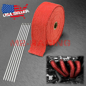 Red Exhaust Pipe Insulation Thermal Heat Wrap 2 X 50 Motorcycle Header