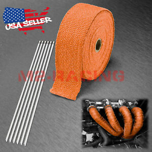Orange Exhaust Pipe Insulation Thermal Heat Wrap 2 x50 Motorcycle Header