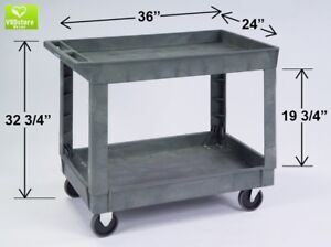 Lakeside 2523 Deep Well Utility Cart 2 Shelves Stain Resistant Plastic Grey