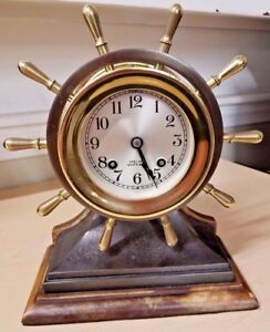 Vintage Chelsea Commander Nautical Ship S Bell Wheel Brass Bronze Mantel Clock
