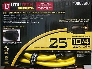 Utilitech Pro 25 Ft 30 amp 10 4 Twist Lock Generator extension Cord