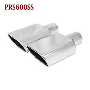Prs600ss Pair 2 25 Stainless Oval Exhaust Tips 2 1 4 Inlet 6 1 2 6 5 Long