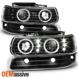 Fit 99 02 Silverado 00 06 Suburban Black Halo Led Projector Headlights Bumper
