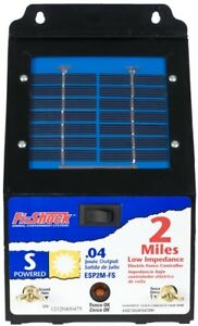 Electric Fence Charger Energizer Pets Fencer 2 Mile Solar Powered Fi Shock New