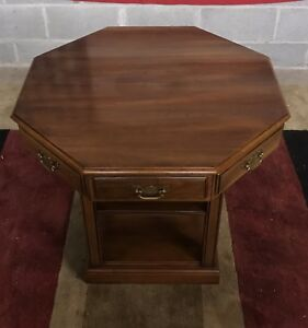 Statton Solid Cherry Octagnal One Drawer End Table Lamp Table
