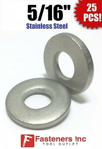 qty 25 5 16 Stainless Steel Thick Heavy Duty Sae Flat Washers 100 Thick