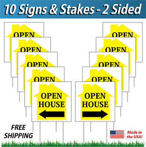 10 Signs 12x12 Open House Directional Signs Corrugated Plastic Free Stakes Y
