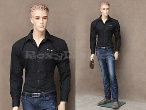 Male Fiberglass Realistic Mannequin With Molded Hair Dress Form Display mz wen3