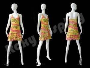 Female Fiberglass Glossy White Mannequin Abstract Style Roxy Display md xd02w