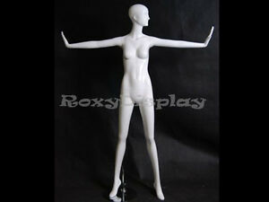 Female Fiberglass Glossy White Mannequin Eye Catching Abstract Style md xd12w