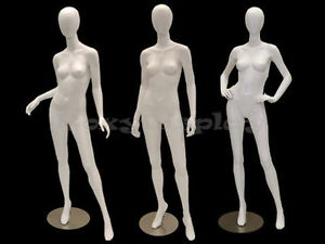3 Pcs Group Female Fiberglass Egg Head Mannequins Display md a2 3 4w2 s Group