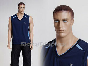 Male Fiberglass Realistic Mannequin With Molded Hair Dress From Display mz matt