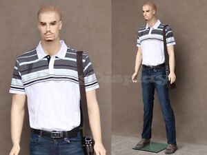 Male Fiberglass Realistic Mannequin With Molded Hair Dress Form Display mz wen8