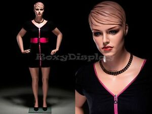 Plus Size Female Fiberglass Mannequin With Molded Hair Dress Form avis2 mz
