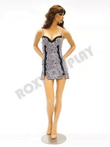 Female Fiberglass Mannequin Pretty Face Elegant Pose Dress From Display fr4 md