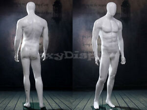 Male Fiberglass Egg Head Mannequin Dress Form Display mz wen5eg