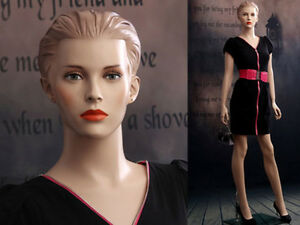 Female Fiberglass Mannequin Beautiful Face With Molded Hair Style ad03 mz