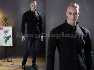Male Fiberglass Realistic Mannequin With Molded Hair Dress From Display mz wen5