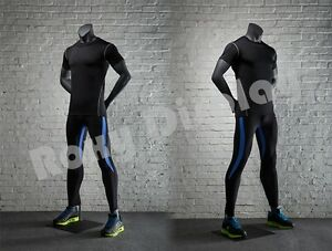 Male Fiberglass Headless Athletic Style Mannequin Dress Form Display mz ni 1