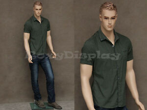 Male Fiberglass Realistic Mannequin With Molded Hair Dress From Display mz wen2