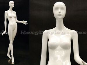 Female Fiberglass Mannequin High Glossy White Abstract Fashion Style mz ivy3