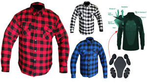 Mens CE armour Motorcycle Motorbike Flannel Shirt Lined with DuPont™ KEVLAR® AU $139.00