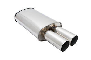 Megan Racing 3 Inlet Universal Mu Md T Dual Oval Chrome Tip Exhaust Muffler New