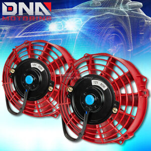Universal 2x7 Red Performance Electric Racing Radiator Fan Assembly Kit