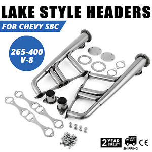 Exhaust Manifold Header New Lake Style Steel Rat Rod For Chevy Sbc 265 400 V 8