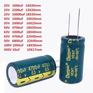 25v 450v High Frequency Low Esr Radial Electrolytic Capacitor 10uf 10000uf Lcd