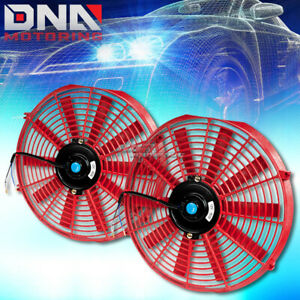 2x14 Red Universal Slim Pull push Electric Radiator Cooling Fans Assembly Kit